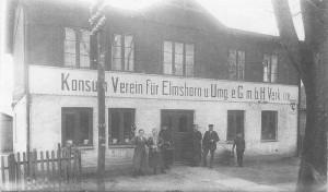 Quickborn - Konsumverein, Kieler Straße, ca. Anfang der 1920er Jahre (Sammlung: Werner Berg)