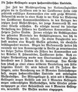 Verurteilung Julius Stubbe (Quickborn-Hasloher Tageblatt 30.01.1934)