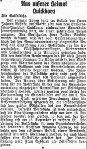 Volksküche Quickborn (Quickborn-Hasloher Tageblatt, 05.12.1930)