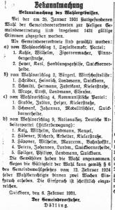 Mandatsträger Gemeindevertreterwahl 1931 (Quickborn-Hasloher Tageblatt, 07.02.1931)