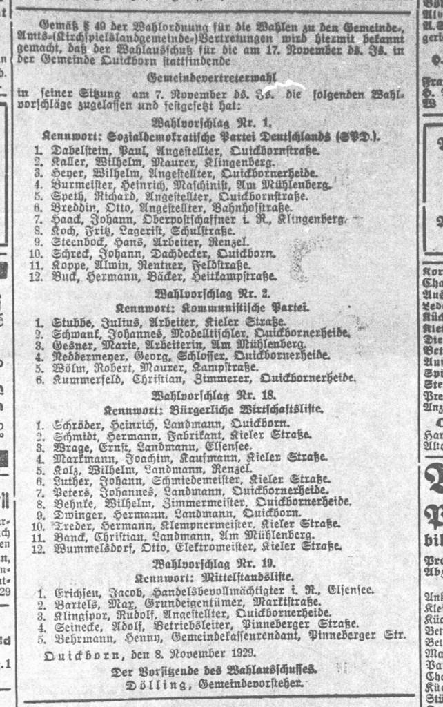Wahlliste Gemeindevertreterwahl Quickborn (Pinneberger Tageblatt, 09.11.1929)