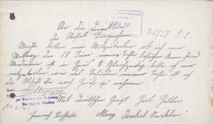 Weidmann: Brief der Mutter an die Anstaltsleitung (Staatsarchiv Hamburg)