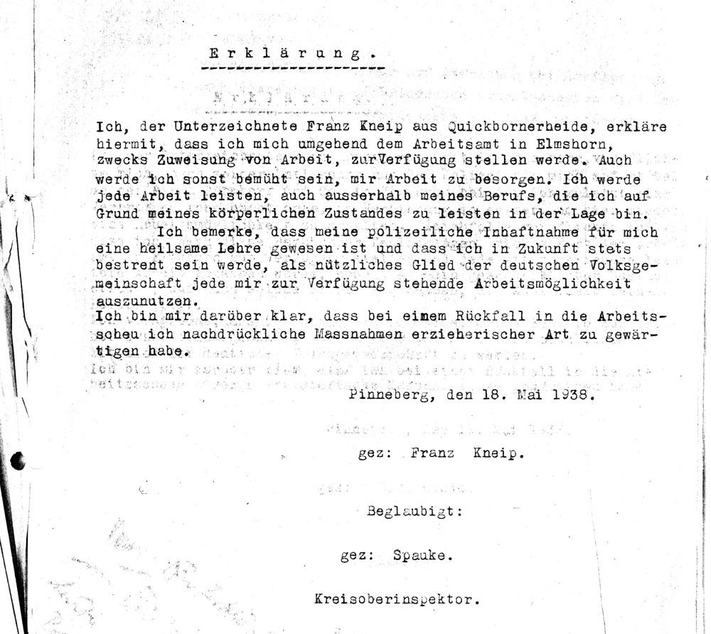 Haftentlassungserklärung Kneip