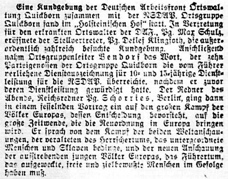 Quickborn-Hasloher Tageblatt, 12.03.1941