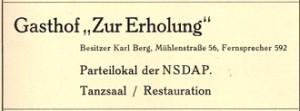 Inserat Parteilokal Uetersen 1939 (Führer durch die Stadt der Rosen, Uetersen 1939, S. 31)