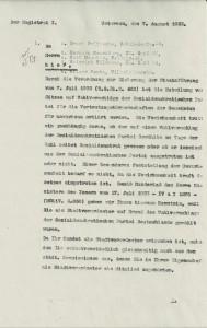 Schreiben des Magistrats der Stadt Uetersen vom 07.08.1933, Seite 1