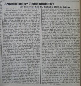 Versammlung der Nationalsozialisten am Sonnabend, dem 27. September 1930, in Uetersen. Uetersener Nachrichten. 01.10.1930