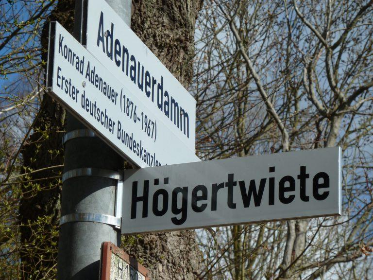 Die Högertwiete wurde 1977 laut Bauamtsprotokolle als Planstr. F geführt. Nach Auskunft des Flächenmanagements wurde die Högertwiete am 9.9.1985 gewidmet. In Kenntnis der neueren Forschung zu Fritz Höger, den Aktivitäten der Höger-Gesellschaft, der Vererbung des Högerhauses an Neofaschisten im Widmungsjahr 1985 ist der Name Höger nicht mehr tragbar.
